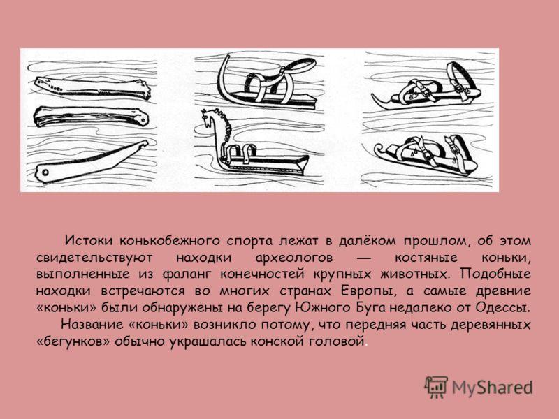 Истоки конькобежного спорта лежат в далёком прошлом, об этом свидетельствуют находки археологов костяные коньки, выполненные из фаланг конечностей крупных животных. Подобные находки встречаются во многих странах Европы, а самые древние « коньки » был