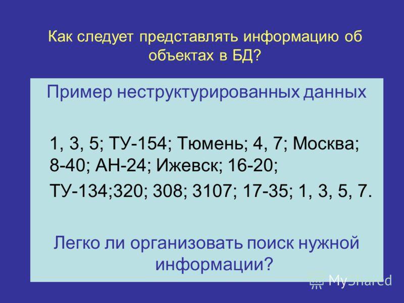 Пример неструктурированных данных 1, 3, 5; ТУ-154; Тюмень; 4, 7; Москва; 8-40; АН-24; Ижевск; 16-20; ТУ-134;320; 308; 3107; 17-35; 1, 3, 5, 7. Легко ли организовать поиск нужной информации? Как следует представлять информацию об объектах в БД?