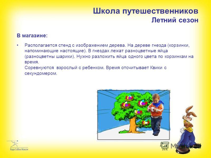 Школа путешественников Летний сезон В магазине: Располагается стенд с изображением дерева. На дереве гнезда (корзинки, напоминающие настоящие). В гнездах лежат разноцветные яйца (разноцветны шарики). Нужно разложить яйца одного цвета по корзинкам на