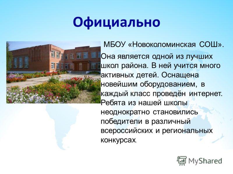 Официально МБОУ «Новоколоминская СОШ». Она является одной из лучших школ района. В ней учится много активных детей. Оснащена новейшим оборудованием, в каждый класс проведён интернет. Ребята из нашей школы неоднократно становились победители в различн