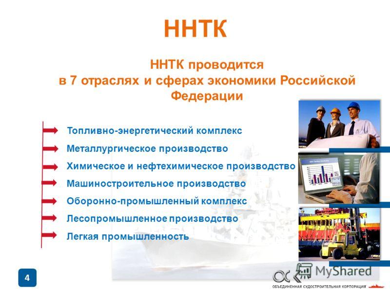 4 ННТК проводится в 7 отраслях и сферах экономики Российской Федерации Топливно-энергетический комплекс Металлургическое производство Химическое и нефтехимическое производство Машиностроительное производство Оборонно-промышленный комплекс Лесопромышл