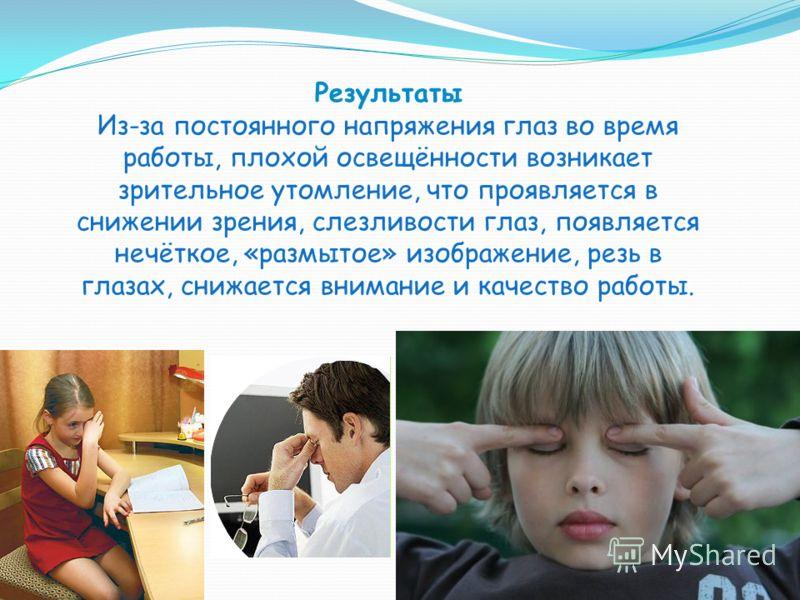Результаты Из-за постоянного напряжения глаз во время работы, плохой освещённости возникает зрительное утомление, что проявляется в снижении зрения, слезливости глаз, появляется нечёткое, «размытое» изображение, резь в глазах, снижается внимание и ка