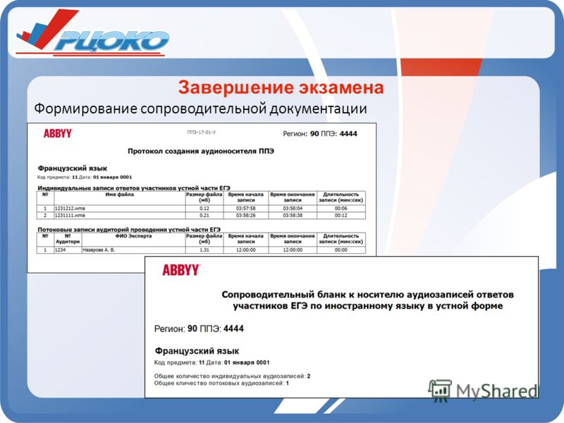 Завершение экзамена Формирование сопроводительной документации