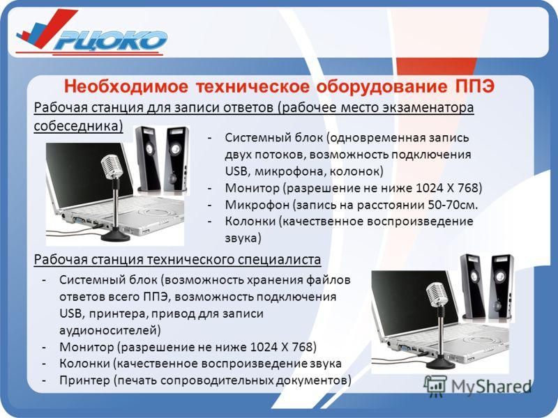 Необходимое техническое оборудование ППЭ Рабочая станция для записи ответов (рабочее место экзаменатора собеседника) Рабочая станция технического специалиста -Системный блок (одновременная запись двух потоков, возможность подключения USB, микрофона,
