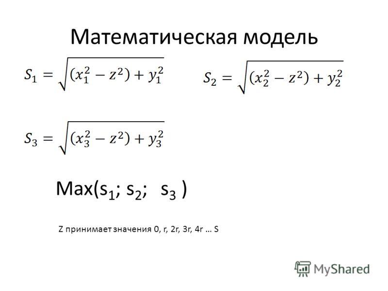 Математическая модель Max(s 1 ; s 2 ; s 3 ) Z принимает значения 0, r, 2r, 3r, 4r … S