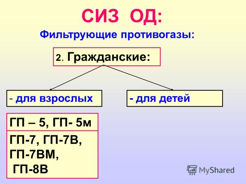 СИЗ ОД: Фильтрующие противогазы: 2. Гражданские: - для взрослых- для детей ГП – 5, ГП- 5м ГП-7, ГП-7В, ГП-7ВМ, ГП-8В