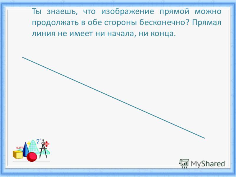 Ты знаешь, что изображение прямой можно продолжать в обе стороны бесконечно? Прямая линия не имеет ни начала, ни конца.
