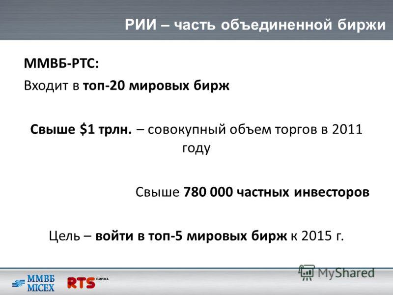 РИИ – часть объединенной биржи ММВБ-РТС: Входит в топ-20 мировых бирж Свыше $1 трлн. – совокупный объем торгов в 2011 году Свыше 780 000 частных инвесторов Цель – войти в топ-5 мировых бирж к 2015 г.