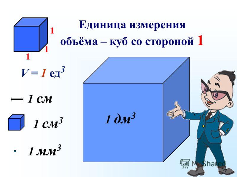 Единица измерения объёма – куб со стороной 1 1 см 3 1 мм31 мм3 1 дм 3 1 см 1 1 1 V = 1 ед 3