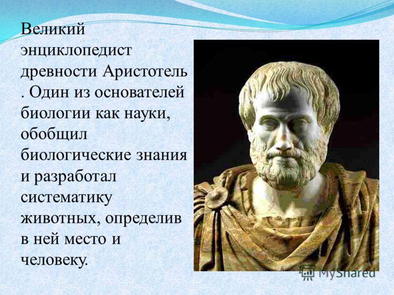 Великий энциклопедист древности Аристотель. Один из основателей биологии как науки, обобщил биологические знания и разработал систематику животных, определив в ней место и человеку.