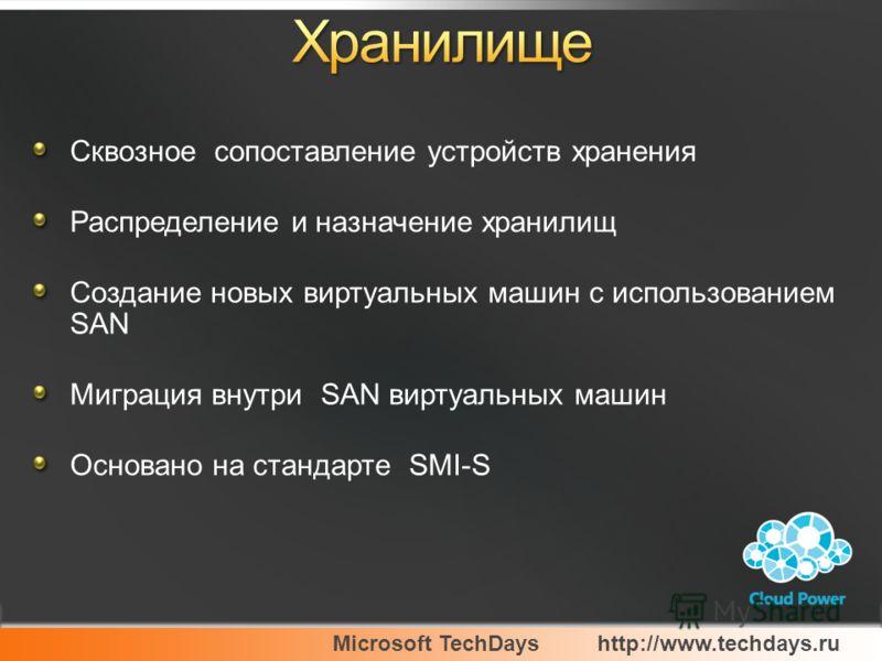 Сквозное сопоставление устройств хранения Распределение и назначение хранилищ Создание новых виртуальных машин с использованием SAN Миграция внутри SAN виртуальных машин Основано на стандарте SMI-S