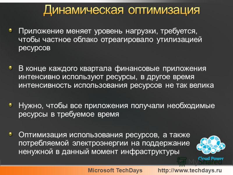 Microsoft TechDayshttp://www.techdays.ru Приложение меняет уровень нагрузки, требуется, чтобы частное облако отреагировало утилизацией ресурсов В конце каждого квартала финансовые приложения интенсивно используют ресурсы, в другое время интенсивность