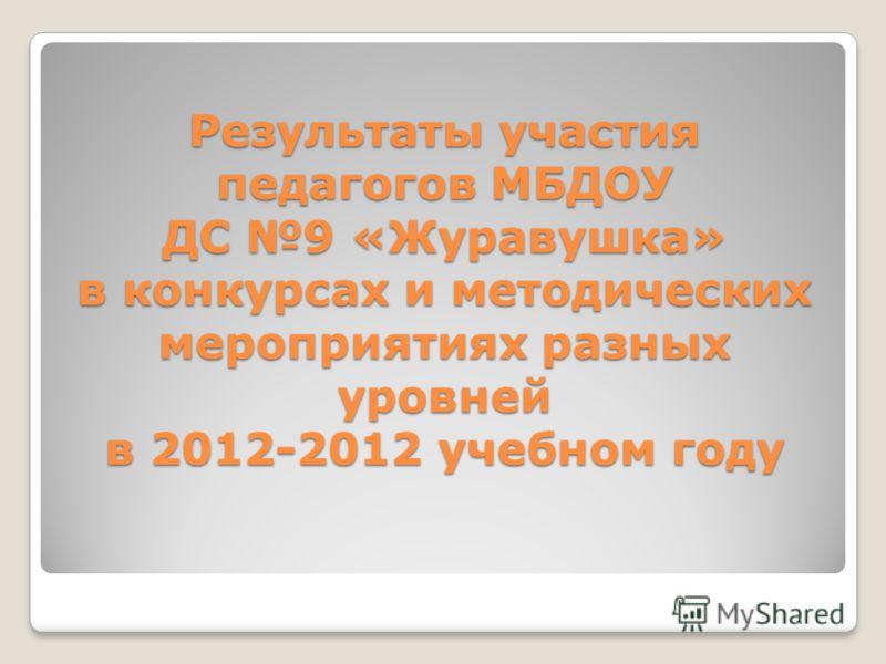 Результаты участия педагогов МБДОУ ДС 9 «Журавушка» в конкурсах и методических мероприятиях разных уровней в 2012-2012 учебном году
