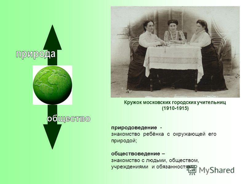 Кружок московских городских учительниц (1910-1915) природоведение - знакомство ребёнка с окружающей его природой; обществоведение – знакомство с людьми, обществом, учреждениями и обязанностями