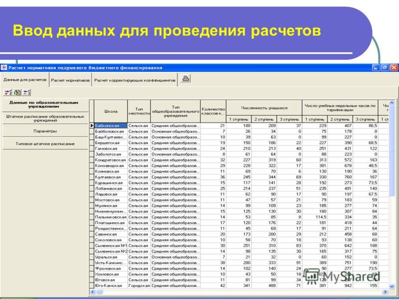 16 Ввод данных для проведения расчетов