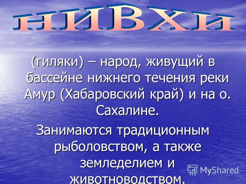 (гиляки) – народ, живущий в бассейне нижнего течения реки Амур (Хабаровский край) и на о. Сахалине. Занимаются традиционным рыболовством, а также земледелием и животноводством.