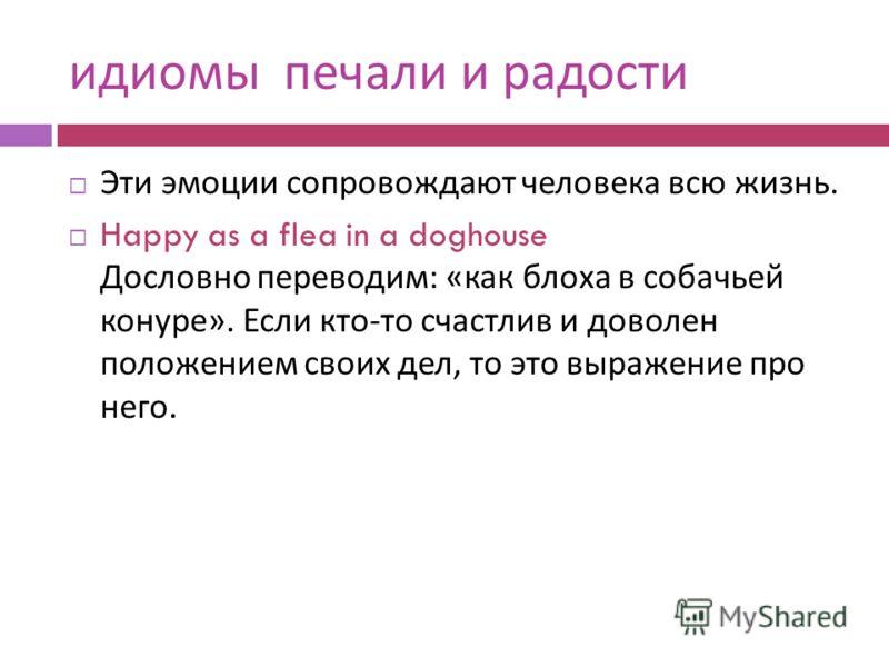идиомы печали и радости Эти эмоции сопровождают человека всю жизнь. Happy as a flea in a doghouse Дословно переводим : « как блоха в собачьей конуре ». Если кто - то счастлив и доволен положением своих дел, то это выражение про него.