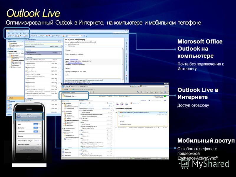 Microsoft Office Outlook на компьютере Почта без подключения к Интернету Outlook Live в Интернете Доступ отовсюду Мобильный доступ С любого телефона с поддержкой Exchange ActiveSync ®