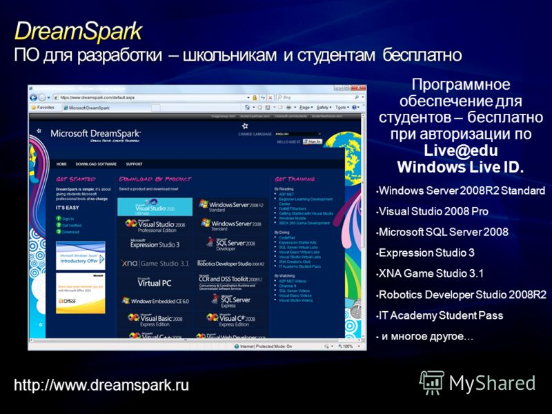 Программное обеспечение для студентов – бесплатно при авторизации по Live@edu Windows Live ID. Windows Server 2008R2 Standard Visual Studio 2008 Pro Microsoft SQL Server 2008 Expression Studio 3 XNA Game Studio 3.1 Robotics Developer Studio 2008R2 IT