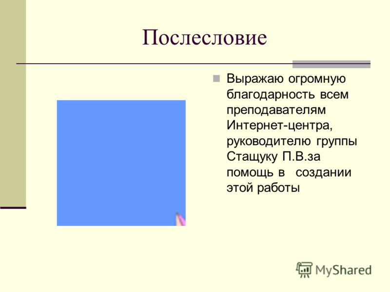 Послесловие Выражаю огромную благодарность всем преподавателям Интернет-центра, руководителю группы Стащуку П.В.за помощь в создании этой работы