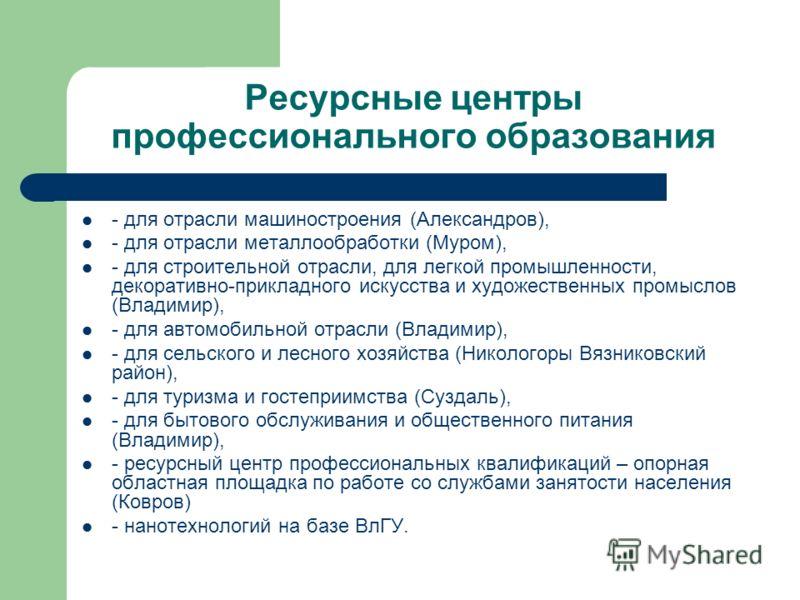 Ресурсные центры профессионального образования - для отрасли машиностроения (Александров), - для отрасли металлообработки (Муром), - для строительной отрасли, для легкой промышленности, декоративно-прикладного искусства и художественных промыслов (Вл