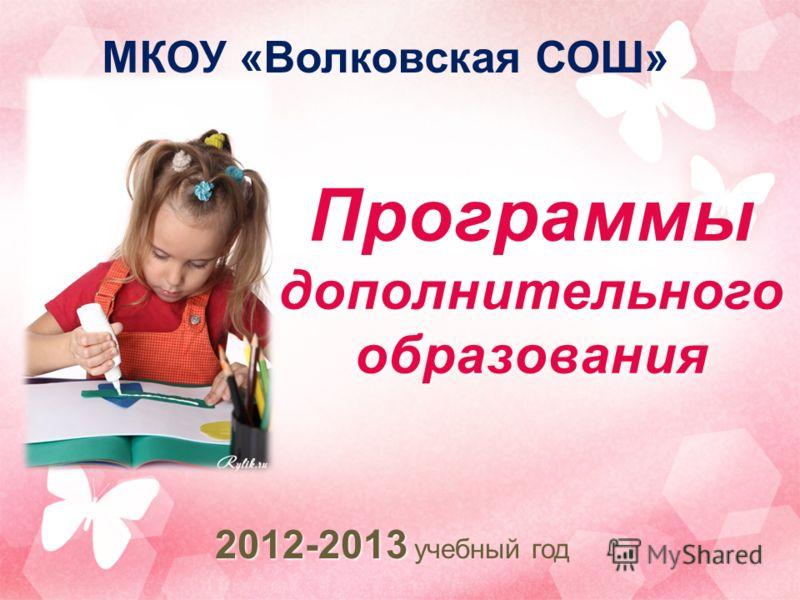 Программы дополнительного образования 2012-2013 2012-2013 учебный год МКОУ «Волковская СОШ»