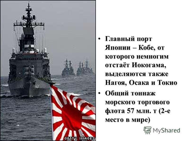 Главный порт Японии – Кобе, от которого немногим отстаёт Иокогама, выделяются также Нагоя, Осака и ТокиоГлавный порт Японии – Кобе, от которого немногим отстаёт Иокогама, выделяются также Нагоя, Осака и Токио Общий тоннаж морского торгового флота 57
