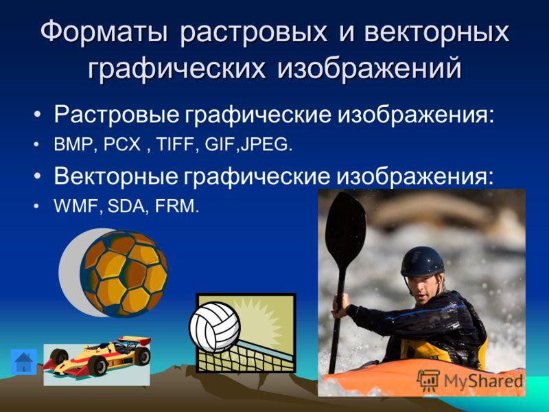 Форматы растровых и векторных графических изображений Растровые графические изображения: BMP, PCX, TIFF, GIF,JPEG. Векторные графические изображения: WMF, SDA, FRM.
