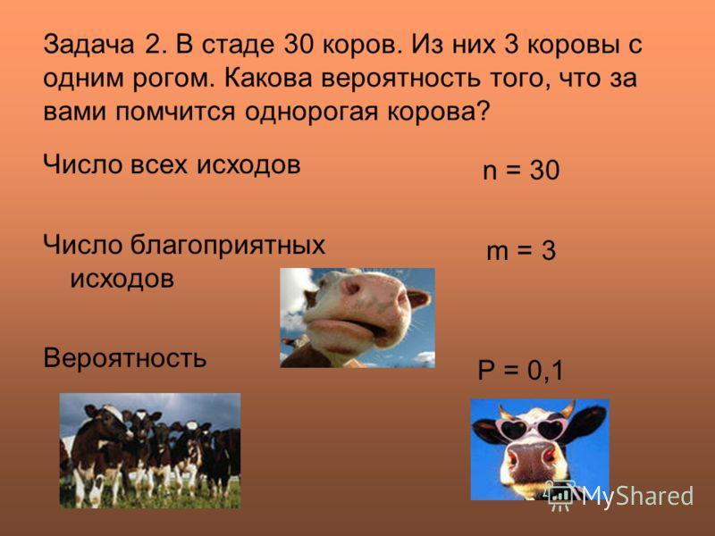 Задача 2. В стаде 30 коров. Из них 3 коровы с одним рогом. Какова вероятность того, что за вами помчится однорогая корова? Число всех исходов Число благоприятных исходов Вероятность n = 30 m = 3 Р = 0,1