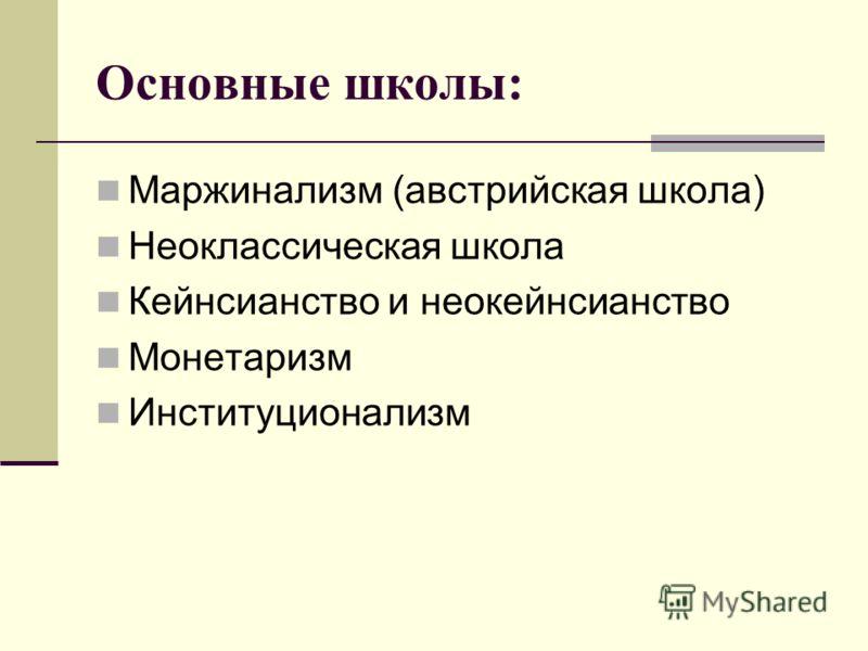 Основные школы: Маржинализм (австрийская школа) Неоклассическая школа Кейнсианство и неокейнсианство Монетаризм Институционализм