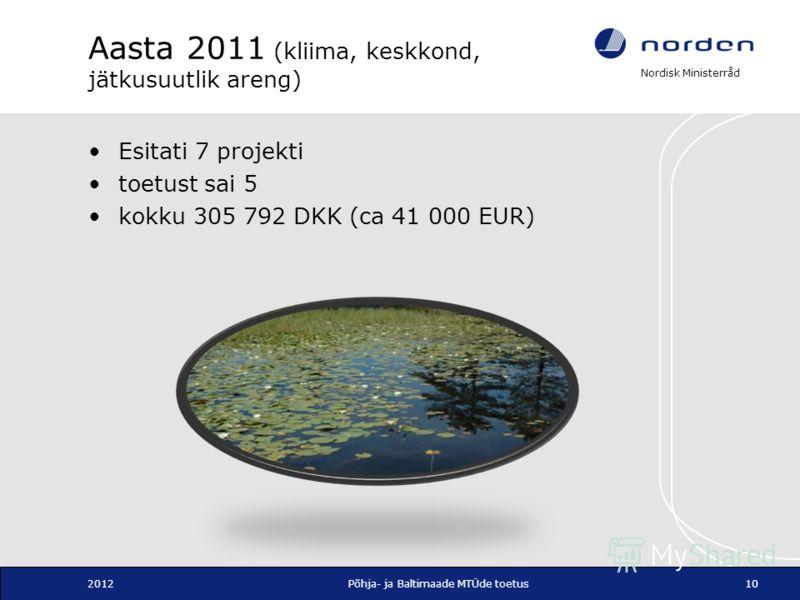Nordisk Ministerråd Aasta 2011 (kliima, keskkond, jätkusuutlik areng) Esitati 7 projekti toetust sai 5 kokku 305 792 DKK (ca 41 000 EUR) 2012Põhja- ja Baltimaade MTÜde toetus10