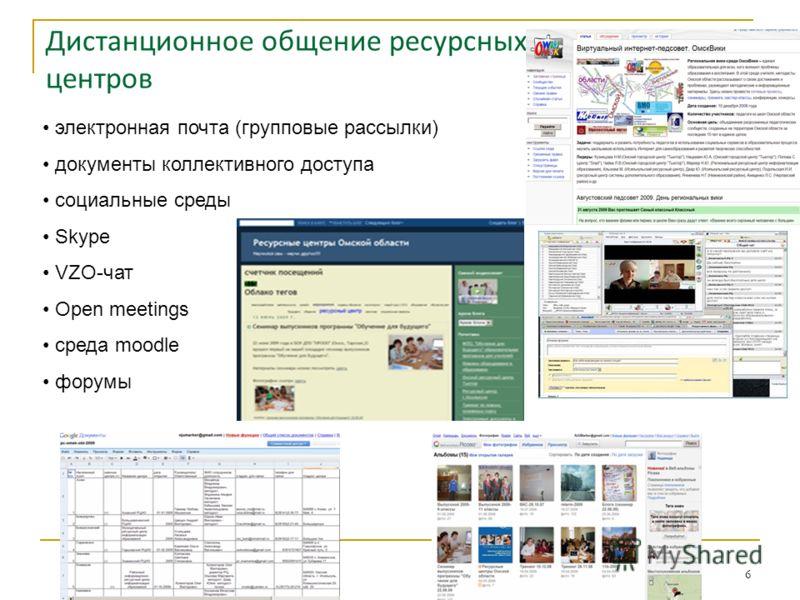 Дистанционное общение ресурсных центров электронная почта (групповые рассылки) документы коллективного доступа социальные среды Skype VZO-чат Open meetings среда moodle форумы 6