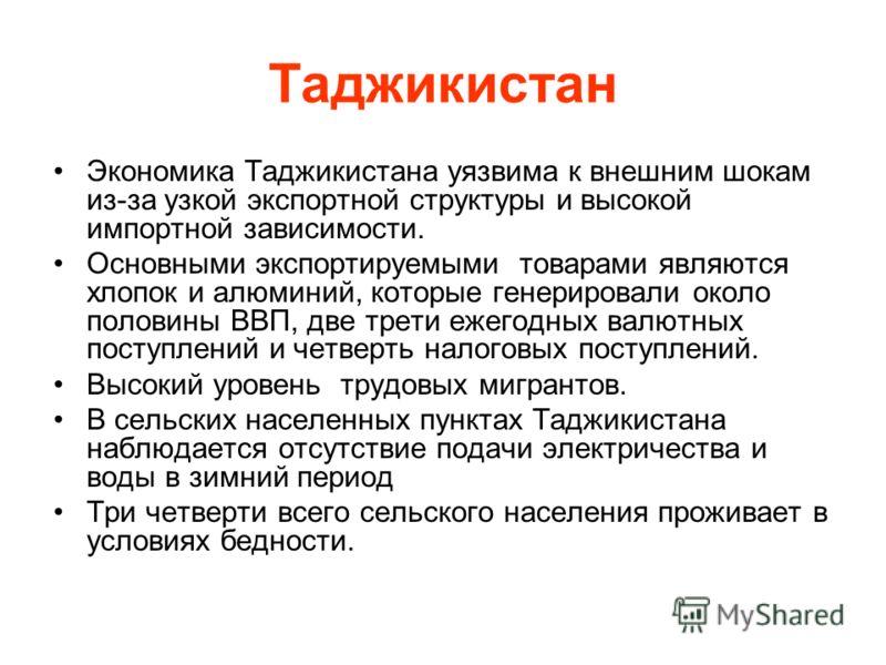 Таджикистан Экономика Таджикистана уязвима к внешним шокам из-за узкой экспортной структуры и высокой импортной зависимости. Основными экспортируемыми товарами являются хлопок и алюминий, которые генерировали около половины ВВП, две трети ежегодных в