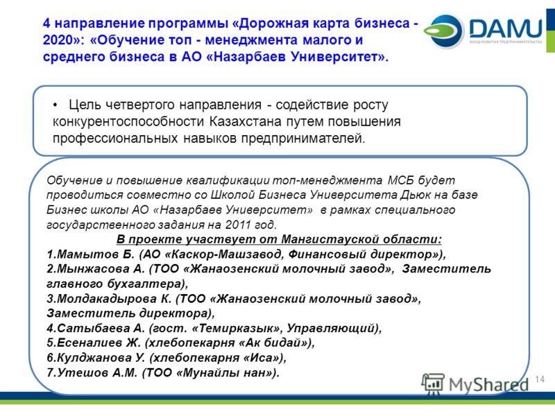 Цель четвертого направления - содействие росту конкурентоспособности Казахстана путем повышения профессиональных навыков предпринимателей. 4 направление программы «Дорожная карта бизнеса - 2020»: «Обучение топ - менеджмента малого и среднего бизнеса