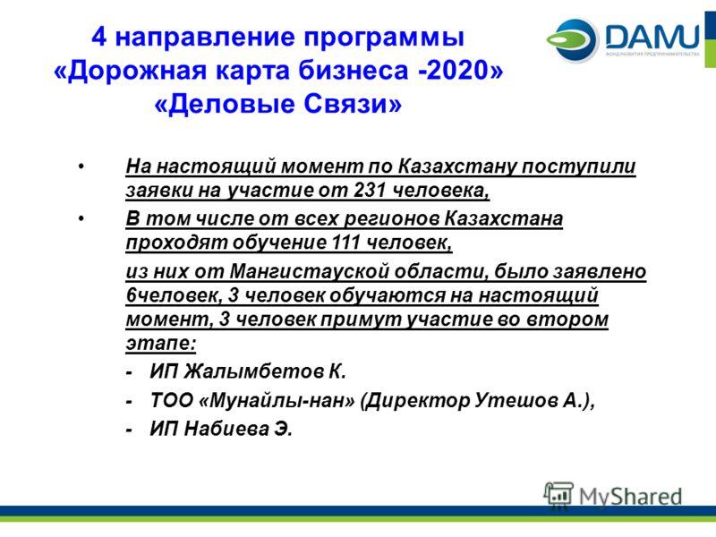 4 направление программы «Дорожная карта бизнеса -2020» «Деловые Связи» На настоящий момент по Казахстану поступили заявки на участие от 231 человека, В том числе от всех регионов Казахстана проходят обучение 111 человек, из них от Мангистауской облас