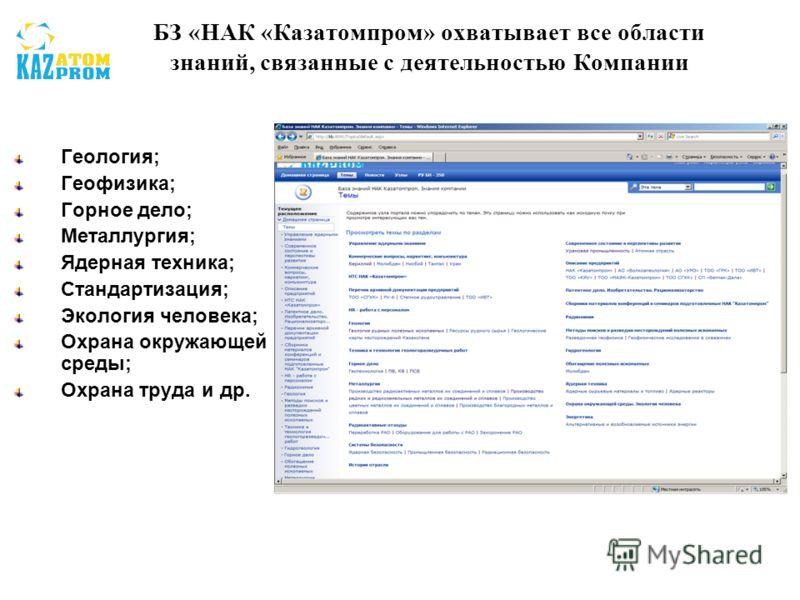 БЗ «НАК «Казатомпром» охватывает все области знаний, связанные с деятельностью Компании Геология; Геофизика; Горное дело; Металлургия; Ядерная техника; Стандартизация; Экология человека; Охрана окружающей среды; Охрана труда и др.