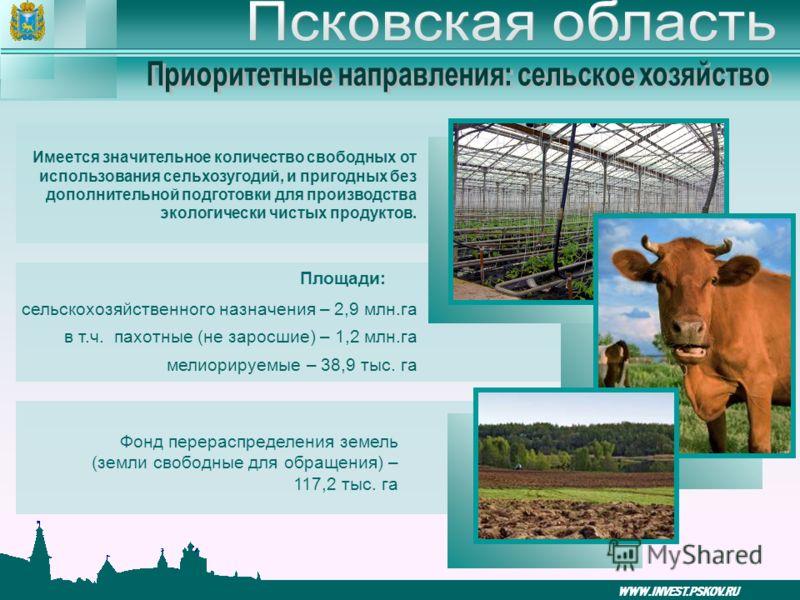 WWW.INVEST.PSKOV.RU Имеется значительное количество свободных от использования сельхозугодий, и пригодных без дополнительной подготовки для производства экологически чистых продуктов. Площади: сельскохозяйственного назначения – 2,9 млн.га в т.ч. пахо
