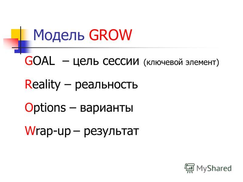 Модель GROW GOAL – цель сессии (ключевой элемент) Reality – реальность Options – варианты Wrap-up– результат