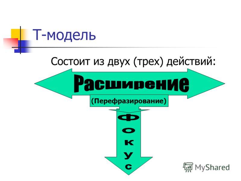 Т-модель Состоит из двух (трех) действий: (Перефразирование)