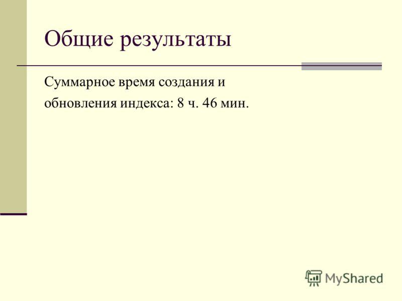 Общие результаты Суммарное время создания и обновления индекса: 8 ч. 46 мин.