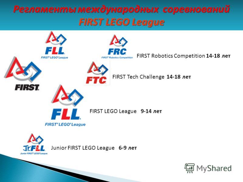 Junior FIRST LEGO League 6-9 лет FIRST LEGO League 9-14 лет FIRST Robotics Competition 14-18 лет FIRST Tech Challenge 14-18 лет Регламенты международных соревнований FIRST LEGO League