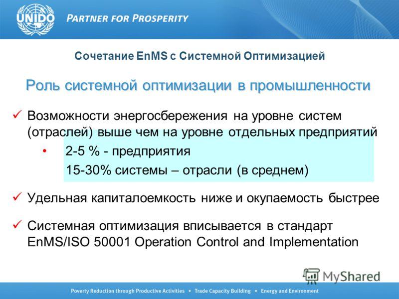 Сочетание EnMS с Системной Оптимизацией Роль системной оптимизации в промышленности Возможности энергосбережения на уровне систем (отраслей) выше чем на уровне отдельных предприятий 2-5 % - предприятия 15-30% системы – отрасли (в среднем) Удельная ка