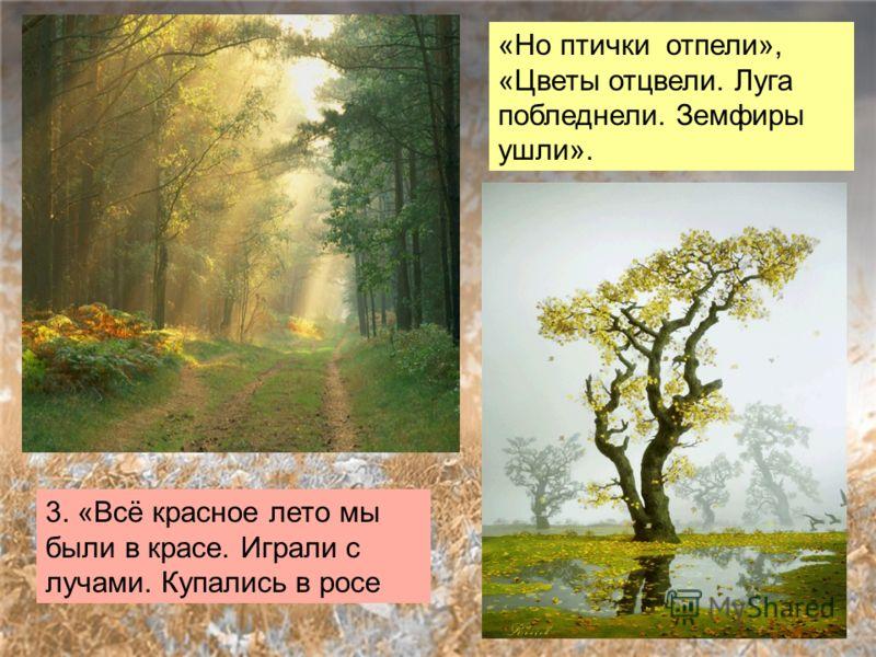 3. «Всё красное лето мы были в красе. Играли с лучами. Купались в росе «Но птички отпели», «Цветы отцвели. Луга побледнели. Земфиры ушли».