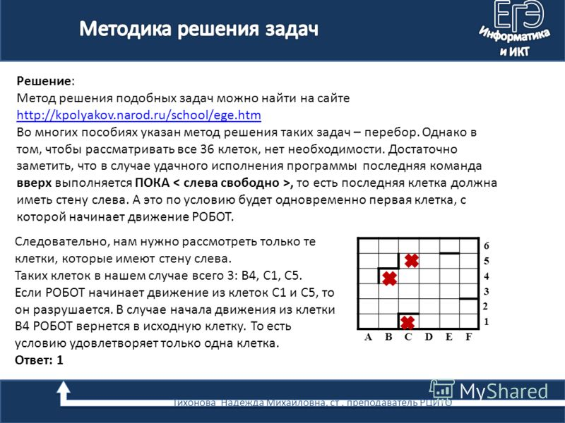 Решение: Метод решения подобных задач можно найти на сайте http://kpolyakov.narod.ru/school/ege.htm Во многих пособиях указан метод решения таких задач – перебор. Однако в том, чтобы рассматривать все 36 клеток, нет необходимости. Достаточно заметить