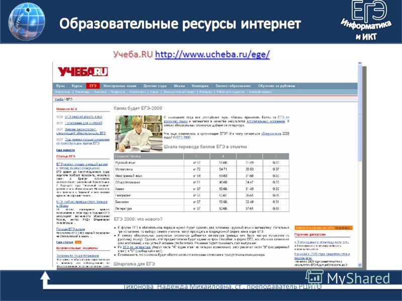 Учеба.RU http://www.ucheba.ru/ege/ http://www.ucheba.ru/ege/ Тихонова Надежда Михайловна, ст. преподаватель РЦИТО