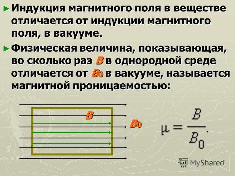 Индукция магнитного поля в веществе отличается от индукции магнитного поля, в вакууме. Индукция магнитного поля в веществе отличается от индукции магнитного поля, в вакууме. Физическая величина, показывающая, во сколько раз В в однородной среде отлич