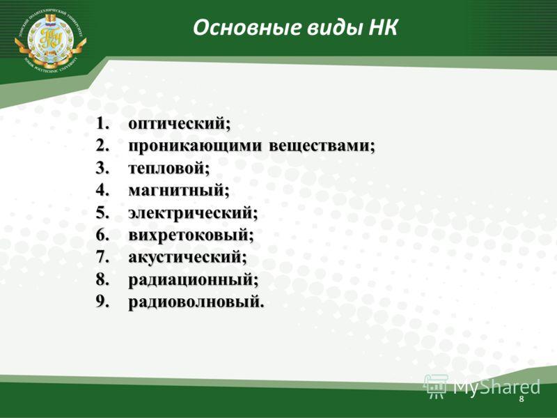 8 Основные виды НК 1.оптический; 2.проникающими веществами; 3.тепловой; 4.магнитный; 5.электрический; 6.вихретоковый; 7.акустический; 8.радиационный; 9.радиоволновый.