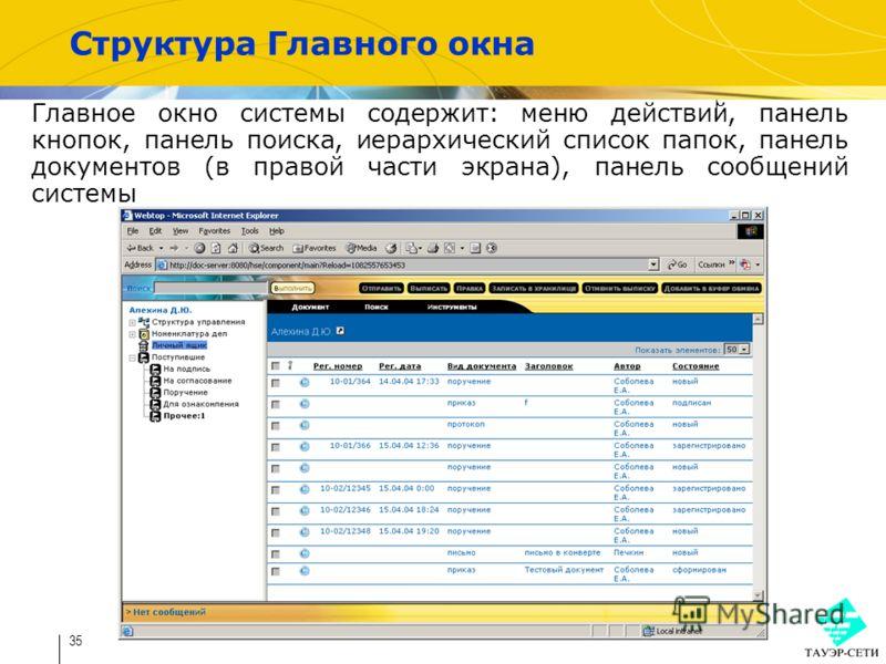 35 Структура Главного окна Главное окно системы содержит: меню действий, панель кнопок, панель поиска, иерархический список папок, панель документов (в правой части экрана), панель сообщений системы