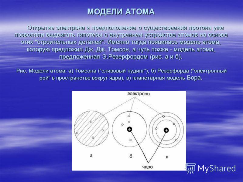 МОДЕЛИ АТОМА Открытие электрона и предположение о существовании протона уже позволяли выдвигать гипотезы о внутреннем устройстве атомов на основе этих