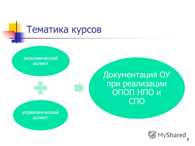 Тематика курсов 5 экономический аспект управленческий аспект Документация ОУ при реализации ОПОП НПО и СПО